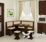 Kampinis valgomojo komplektas su taburetėmis 3, tamsiai rudos/smėlio spalvos