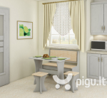 Valgomojo komplektas su taburetėmis, baltas/kreminis
