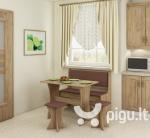 Valgomojo komplektas su taburetėmis, ąžuolo/rudos spalvos