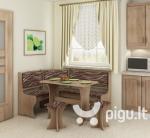 Kampinis valgomojo komplektas su taburetėmis 1, ąžuolo/rudos spalvos